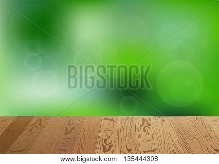 Focus on brown wooden floor. Happy summer nature illustration. Spring bright natural background and forest in the back not in focus