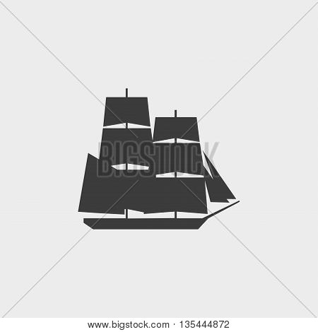Ship icon Car Icon in a flat design in black color. Vector illustration eps10