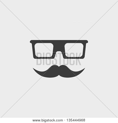 Mustache and Glasses Icon Car Icon in a flat design in black color. Vector illustration eps10