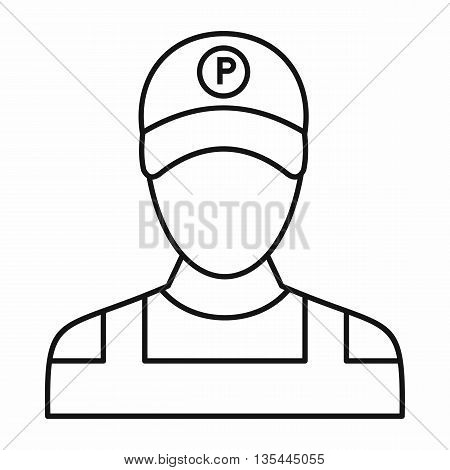 Parking attendant icon in outline style isolated on white background