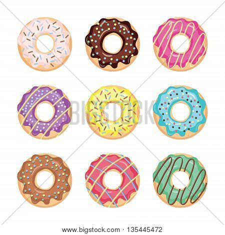 Glazed colored donuts set isolated on white.