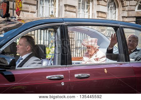 LIVERPOOL, ENGLAND - JUNE 22 2016: Her Royal Highness Queen Elizabeth II visits during her 90th year of birth.
