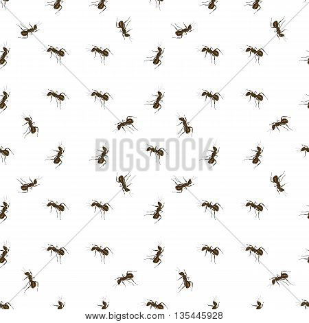 Seamless Animal Pattern. Ant Isolated on White Background.