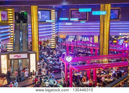 LAS VEGAS - APRIL 13 : The Planet Hollywood casino in Las Vegas on April 13 2016. Planet Hollywood has over 2500 rooms available and it located on Las Vegas Boulevard.