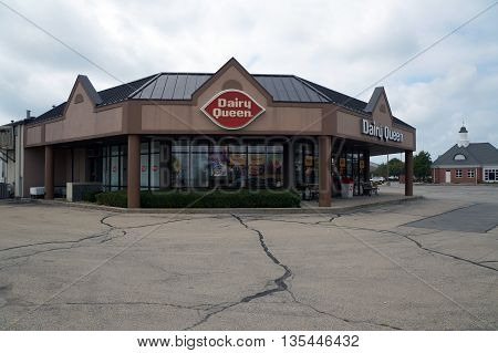 SHOREWOOD, ILLINOIS / UNITED STATES - AUGUST 30, 2015: One may eat ice cream at the Dairy Queen restaurant in Shorewood's Apple Tree Plaza.
