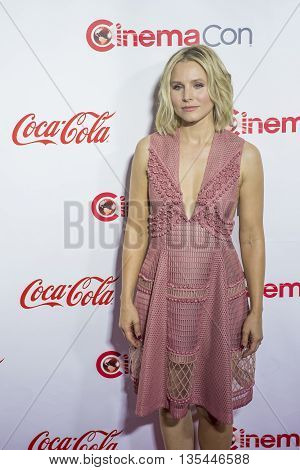 LAS VEGAS - APRIL 14 : Actress Kristen Bell one of the recipients of the Female Stars of the Year Award attends the CinemaCon Big Screen Achievement Awards at The Caesars Palace on April 14 2016 in Las Vegas