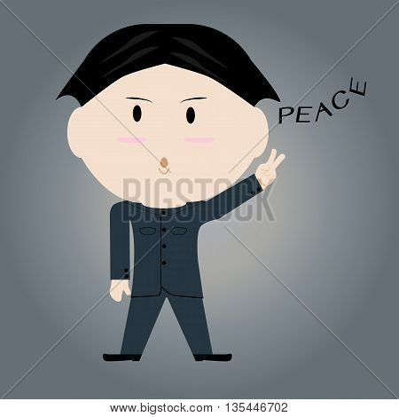 Man showing a sign of peace. Vector illustration. EPS10