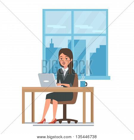 Business woman in her office working on a laptop computer. Flat vector illustration.