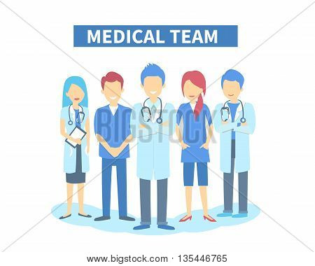 Team of doctors and other hospital workers stand together. Vector stylish illustration isolated on white background.