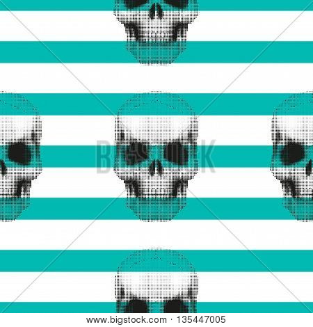 Vintage hipster seamless pattern with skulls. Stylish retro print for covering or wrapping. Vector Illustration background.