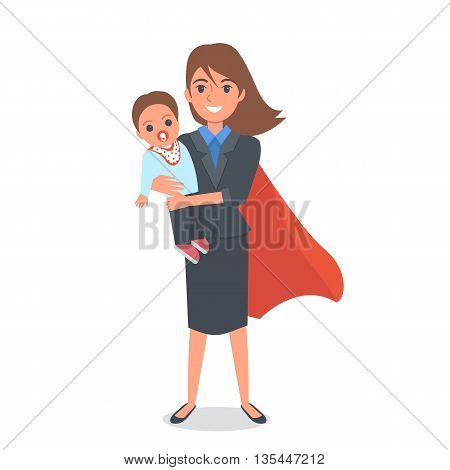 Super Hero Mom in business costume holding baby on her hands. Vector cartoon illustration.