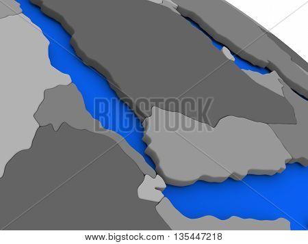 Yemen, Eritrea And Djibouti On Political Earth Model