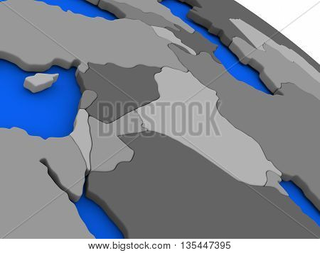 Israel, Lebanon, Jordan, Syria And Iraq Region On Political Earth Model