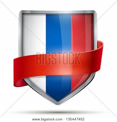 Shield with flag Russia and ribbon. Editable Vector Illustration isolated on white background.