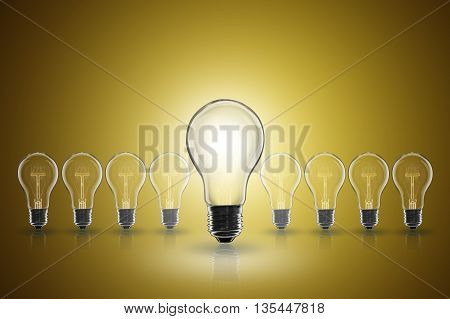 Idea Concept -   Light Bulb On The Color Background