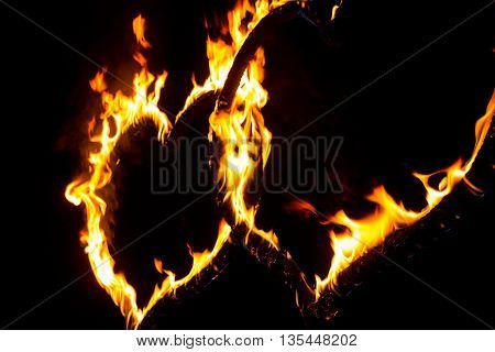 Fire heart full of power and energy. Wonderful perfect red orange burning heart shape symbol for e.g. Valentine's Day.