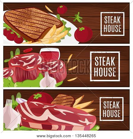 Set Of Banners For Theme Steak House With Steak,fries,wine. Vector Illustration