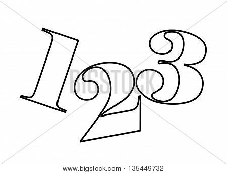 1, 2, 3 numbers drawing isolated icon design, vector illustration  graphic