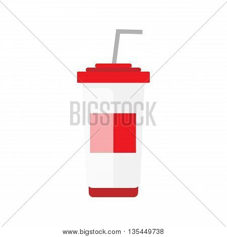 Flat soda takeaway illustration. Street drink icon. Cold white red container vector with straw. Isolated cola on white background. Street fast food