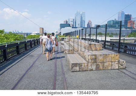 NEW YORK CITY - MAY 28 : The High Line Park in NYC on May 28 2016. The High Line is a public park built on an historic freight rail line elevated above the streets on Manhattans West Side.