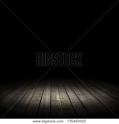 old wooden floor on a black background