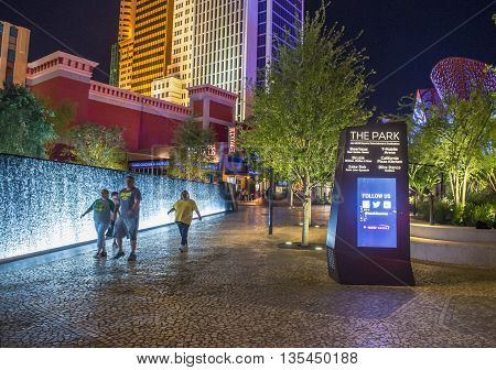 LAS VEGAS - JUNE 14 : The Park in Las Vegas on June 14 2016. The Park is outdoor dining and entertainment district area that connects the T-Mobile Arena to the Las Vegas Strip