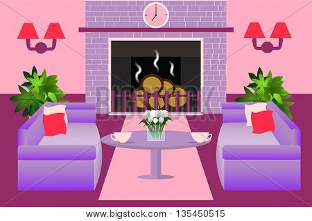 Beautiful modern interior living room with fireplace, sofa, table, lamp, clock , houseplant vector illustration