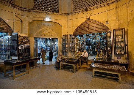 SHIRAZ - APRIL 14: Unknown people in Market (Vakil Bazaar) in Shiraz Iran on April 14 2015. Vakil Bazaar is the most important tourist attraction in Shiraz Iran.