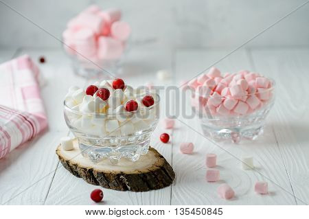 Marshmallow pink and white in glass bowl with cranberry on wooden background