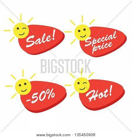 Summer sale labels promotional vector eps 10