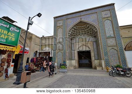 SHIRAZ - APRIL 14: The Vakil Mosque in Shiraz Iran on April 14 2015. This mosque was built between 1751 and 1773 during the Zand period and was restored in the 19th century during the Qajar period.