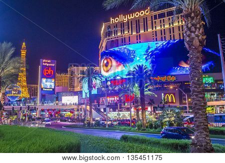 LAS VEGAS - JUNE 14 : View of the strip in Las Vegas on June 14 2016. The Las Vegas Strip is an approximately 4.2-mile (6.8 km) stretch of Las Vegas Boulevard in Clark County Nevada.