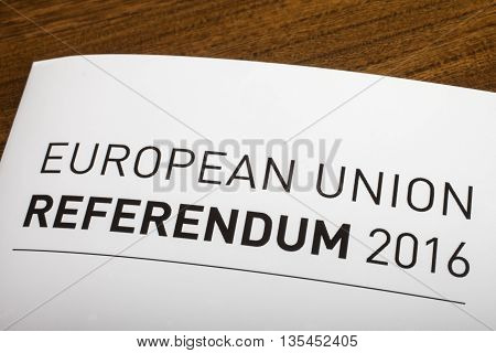 LONDON UK - JUNE 16TH 2016: The title of a guide on the European Union Referendum 2016 taken on 16th June 2016. The referendum will decide if the UK will remain or leave the EU.