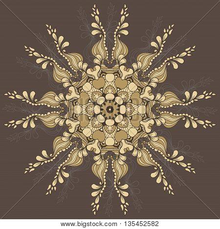 Circular pattern with flowersand vegetation elements. Round Pattern Mandala. Vector illustration.