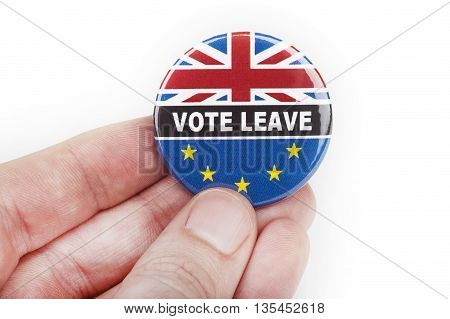 LONDON UK - JUNE 16TH 2016: A Vote Leave pin badge - referring to the upcoming Referendum on the UK's membership in the European Union taken on 16th June 2016.