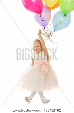 Funny little girl in fancy white dress holding a balloons - Isolated on white background