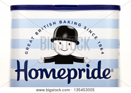 LONDON UK - JUNE 16TH 2016: The Homepride logo on one of their products on 16th June 2016. Homepride is a British food brand owned by Premier Foods.