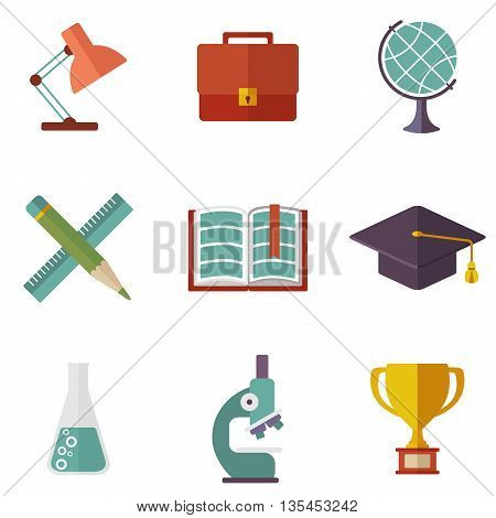 Set of education icons. Cartoon flat vector illustration. Objects isolated on a white background.