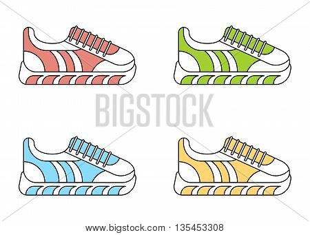 Set of color fashionable sneakers. Color fashionable sneakers. Cartoon flat vector illustration. Objects isolated on a white background.