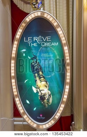 LAS VEGAS - MAY 21 : The Le Reve at the Wynn hotel in Las Vegas on May 21 2016. Le Reve is a stage production It is set in an aquatic stage with a one million-gallon water capacity