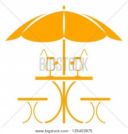 vector table with umbrella isolated on white background