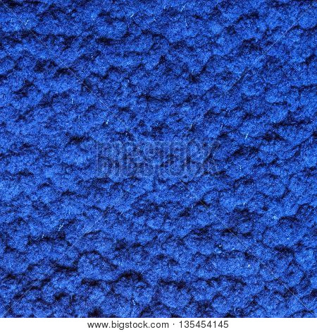 blue color soft fluffy texture terry fabric abstract background. Square format