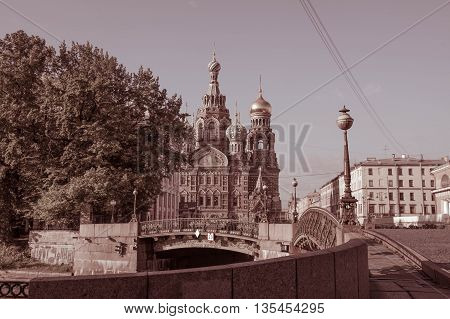 Sankt-St. Petersburg-20.06.2016: church (Church of the Savior on Blood), historical, central region of the city