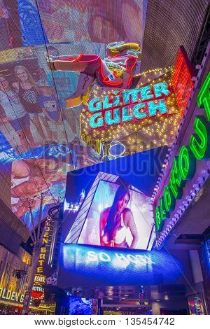 LAS VEGAS - JUNE 18 : The Fremont Street Experience on June 18 2016 in Las Vegas Nevada. The Fremont Street Experience is a pedestrian mall and attraction in downtown Las Vegas