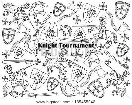 Knight Tournament design colorless set vector illustration. Coloring book. Black and white line art
