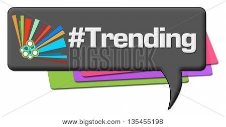 Trending text with hash symbol written over dark colorful background.
