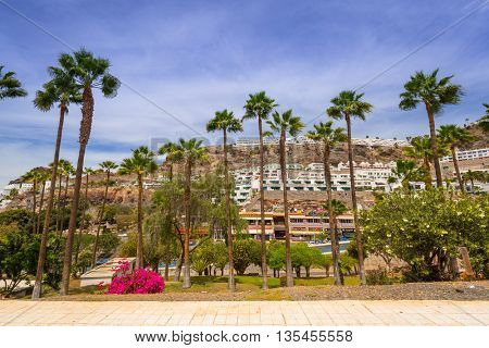 PUERTO RICO, SPAIN - APRIL 21, 2016: Architecture of Puerto Rico of Gran Canaria. Puerto Rico is a specially constructed holiday resort situated on the south-west coast of Gran Canaria.