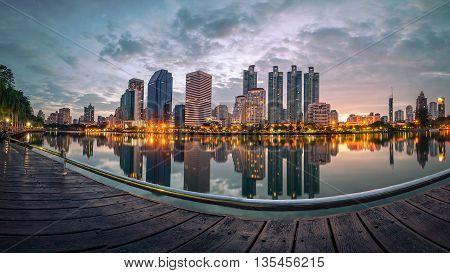 Bangkok city with reflection at a sunset