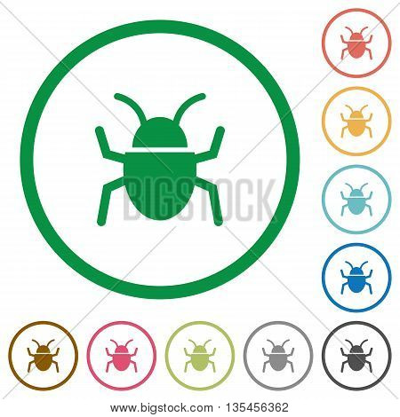 Set of computer bug color round outlined flat icons on white background