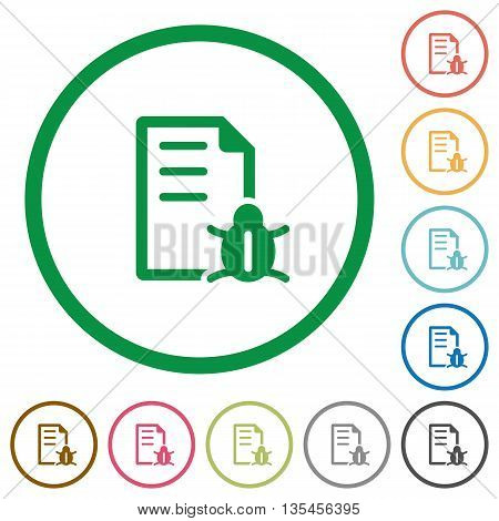 Set of bug report color round outlined flat icons on white background